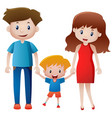 parents and son holding hands vector image