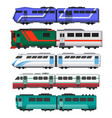 passenger express trains railway carriages vector image