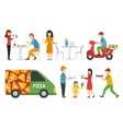 People in a Pizzeria Bistro interior flat icons vector image vector image