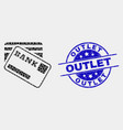 pixel bank cards icon and grunge outlet vector image vector image