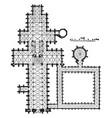 plan salisbury cathedral vintage engraving vector image vector image