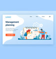 planning landing page time management and vector image vector image