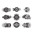 race logos with pictures different cars wheels vector image