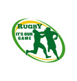 Rugby player tackle fending off vector image vector image
