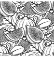 seamless pattern of fig fruits and leaves vector image vector image
