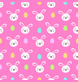 seamless pattern with cute bunny face on pink vector image vector image
