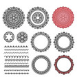 set elements from round mandala frames brushes vector image vector image