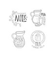 set monochrome emblems for dairy vector image