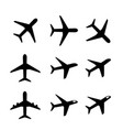 set of airplane icon and symbol in silhouette vector image vector image
