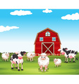 Sheeps and cows on the farm vector image