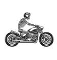 skeleton biker driving motorcycle vector image vector image