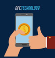 smartphone with coin transaction in the hand vector image vector image