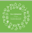 tea ceremony round design template line icon vector image