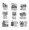 time to travel set for label design black vector image vector image