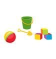 toys flat ball cubics bucket sand shovel vector image