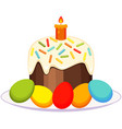 traditional easter cake candle eggs on plate icon vector image vector image
