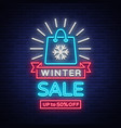 winter sale of a poster in a neon style neon sign vector image