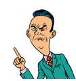 wrinkled nasty bad businessman points finger vector image