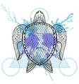 zentangle stylized turtle in triangle frame vector image vector image