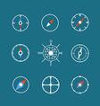 White travel icons clip-art Design elements vector image
