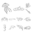 A variety of marine animals outline icons in set