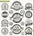 anniversary retro badges collection 25 years vector image vector image