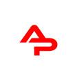 ap letter logo vector image vector image