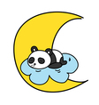 Baby panda sleeping on the cloud with the moon
