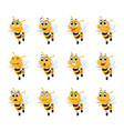 bee with different facial expressions vector image vector image