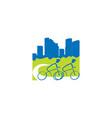 bicycle building city logo design vector image vector image