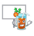 bring board character healthy carrot smoothie for vector image vector image
