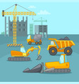 building process concept trucks cartoon style vector image