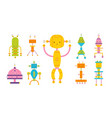 bundle of colored adorable happy robots isolated vector image