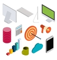 Business isometric elements set vector image