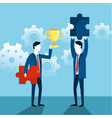 businessmen with cup and puzzles with gears vector image