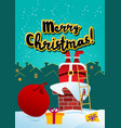 card merry christmas santa claus on rowith vector image vector image