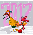 cartoon surprised colorful rooster with Christmas vector image vector image