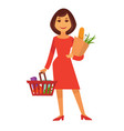 cartoon woman stands with shopping basket and vector image vector image