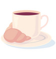 coffee with a croissant for your loved one vector image vector image