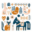 composition with folk art animals and decorative vector image