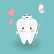 cute smiley white tooth who wears nurse hat feels vector image vector image