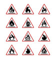 danger fire icons with flame isolated on white vector image vector image