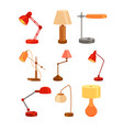 desk lamp set modern cartoon colorful vector image vector image