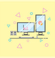 double monitor vector image