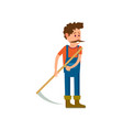 farmer with scythe for grass isolated icon vector image