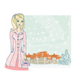 fashion winter girl with shopping bags vector image