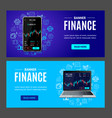 finance concept banner horizontal set with vector image