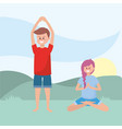 fit couple practicing yoga vector image vector image