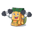 fitness backpack character cartoon style vector image