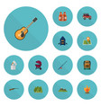 flat icons barbecue lifesaver weapon and other vector image vector image